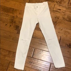 Zara high waist ankle white jean